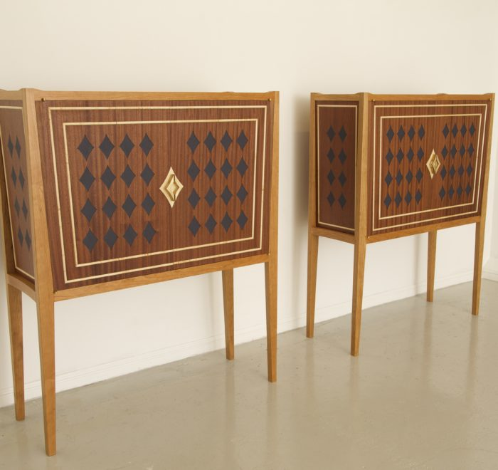 Diamond drinks cabinets cherry sapele leather brass