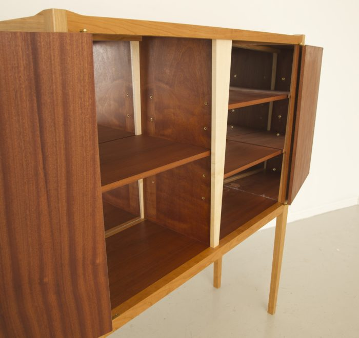 Diamond drinks cabinets cherry sapele leather brass open