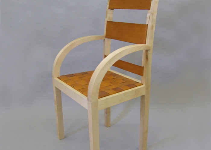 Leather and sycamore dining chairs