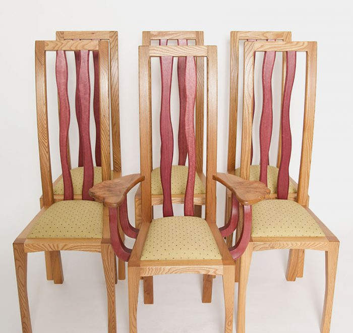 Purpleheart and elm bespoke dining chairs