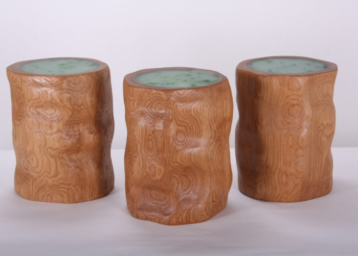 Oak LED stools recycled glass