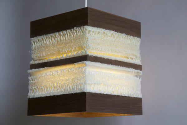 Loofah pendant light wood walnut