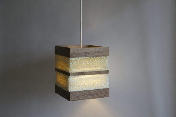 Loofah pendant light walnut