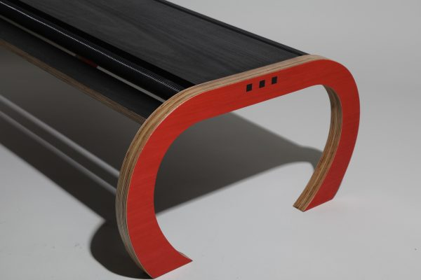 Red black vacuum coffee table