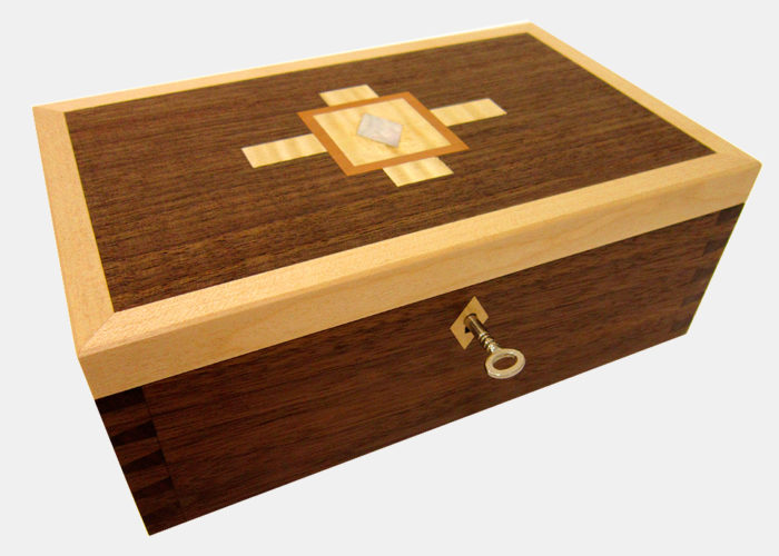 Dovetailed box jewellery keepsake box walnut maple