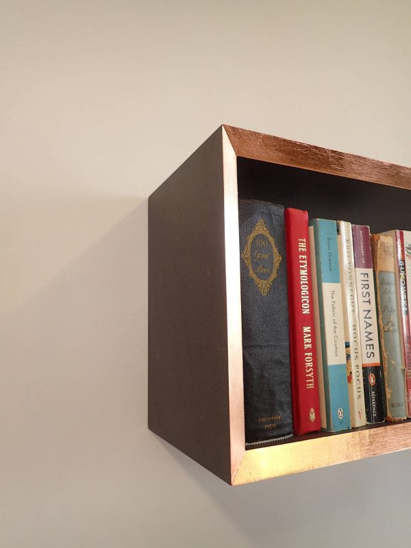 Copper edge bookshelf