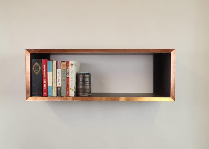 Copper edge bookshelf