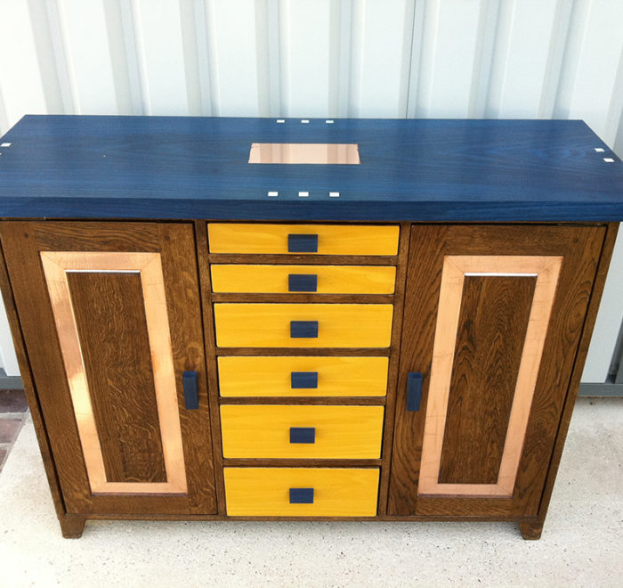 Upcycled cabinet blue yellow mother of pearl copper