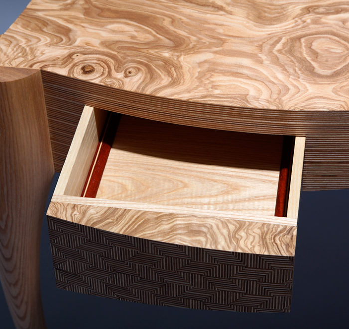 Deviation ash writing desk drawer birch ply
