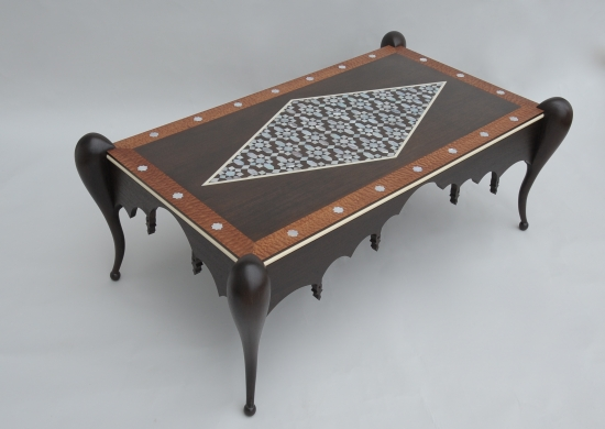 Mother of pearl coffee table wenge