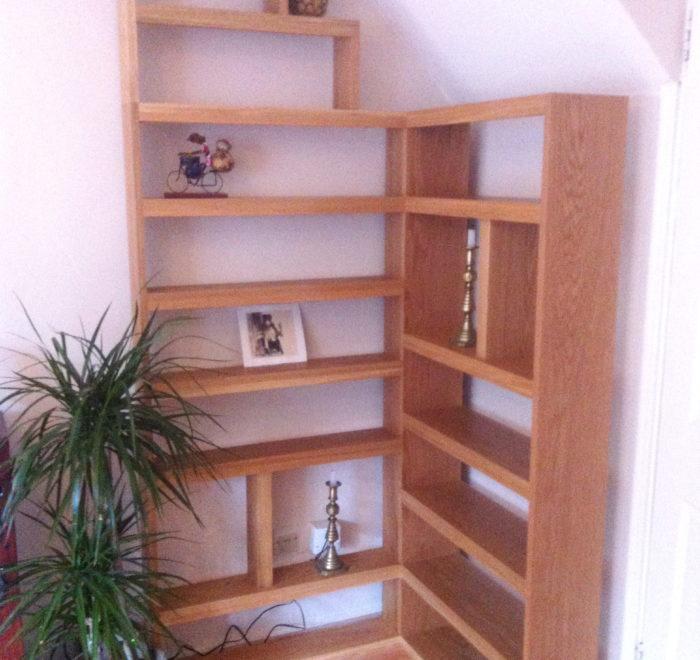 Oak corner bookcase