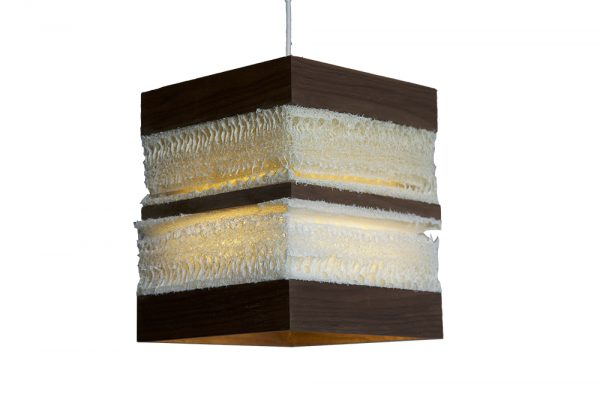 Loofah and walnut pendant light with wood