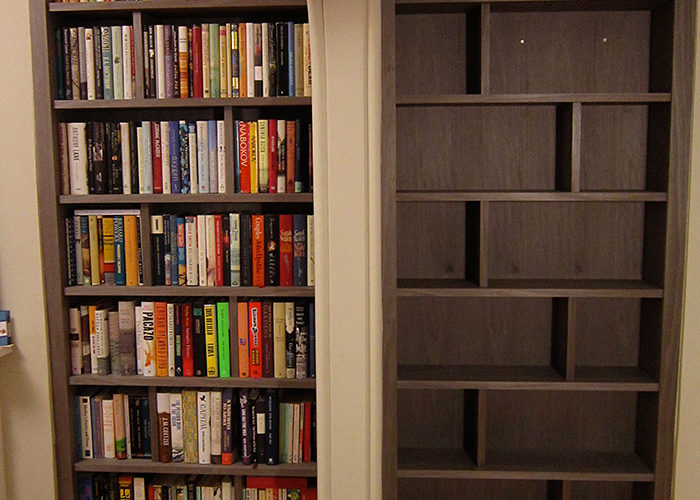 Grey bookcases
