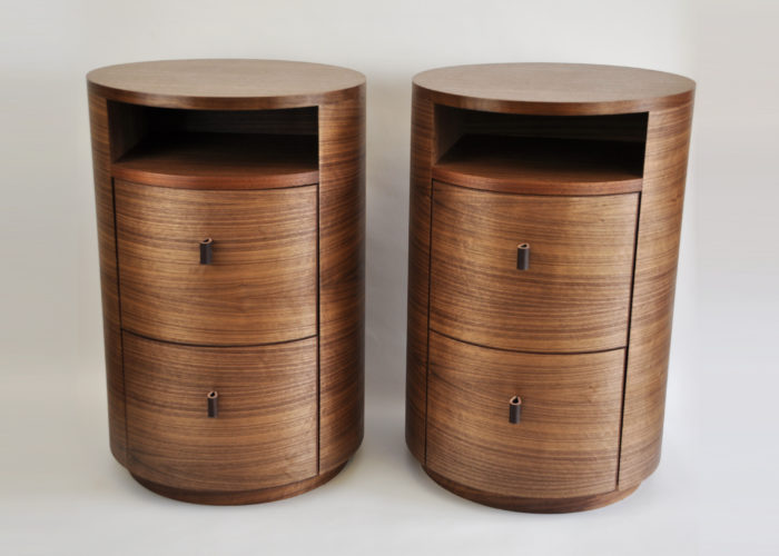 Pair of round bedside tables in walnut