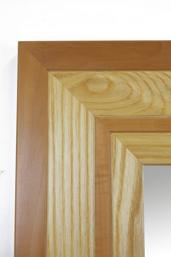 Pear and ash handmade mirror corner