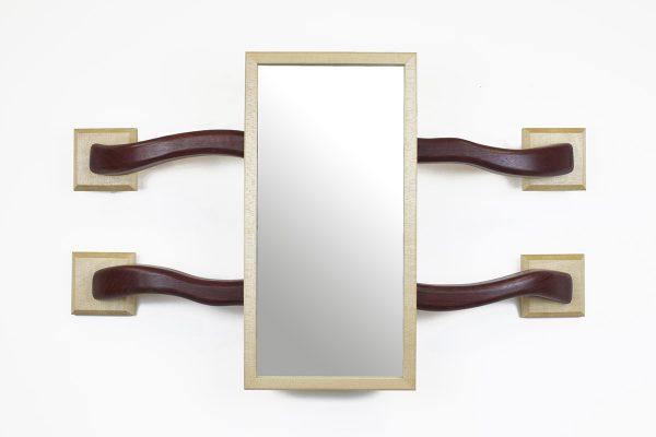 Purpleheart and sycamore handmade mirror