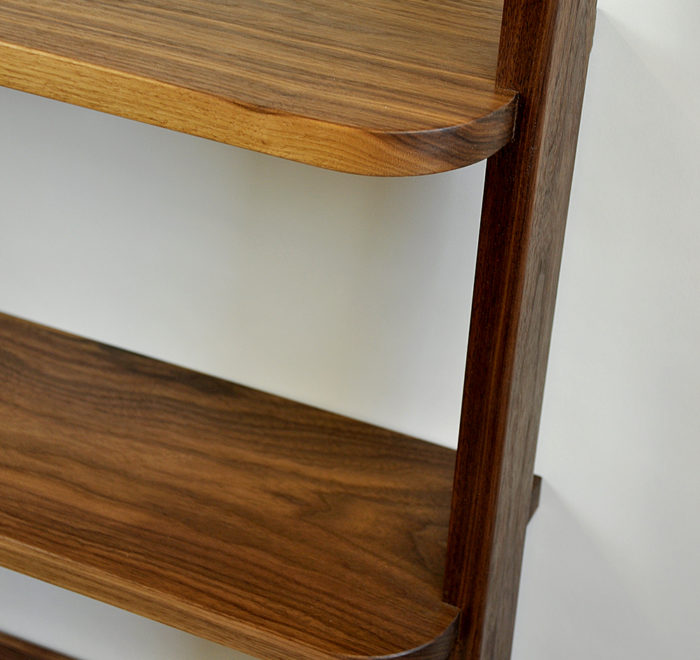 Leaning bookcase walnut bookcase