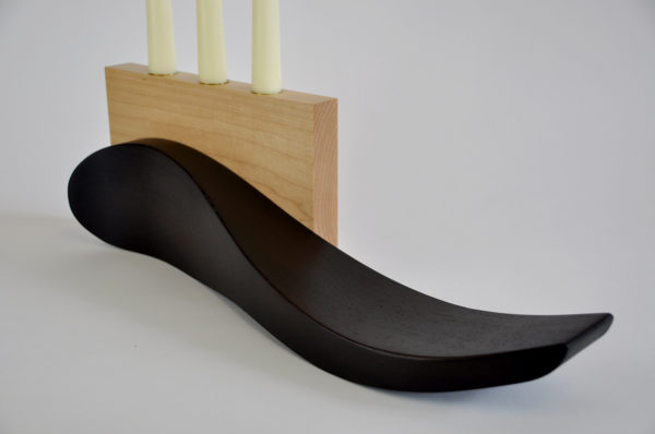 Wenge and maple candle holder handmade tableware