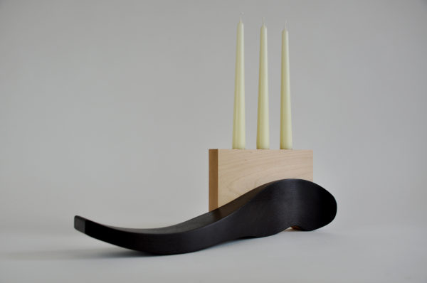 Wenge and maple candleholder handmade tableware