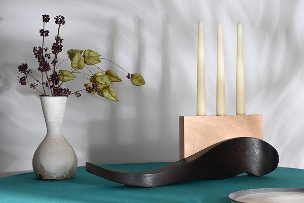Wenge and maple candleholder luxury tableware lifestyle
