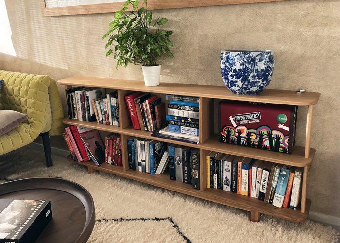 Oak bookshelves lifestyle