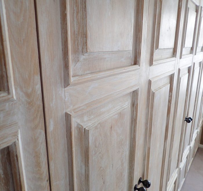 Distressed oak panelled wardrobe doors