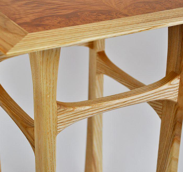 Ash side table maple veneer top legs
