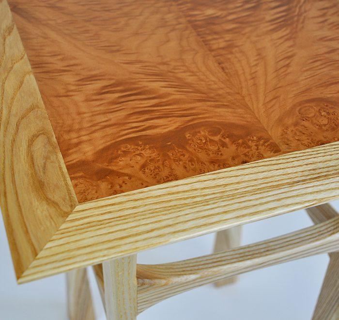 Ash side table maple veneer top