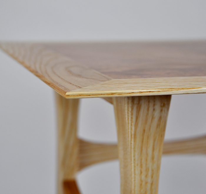 Ash side table maple top edge 2