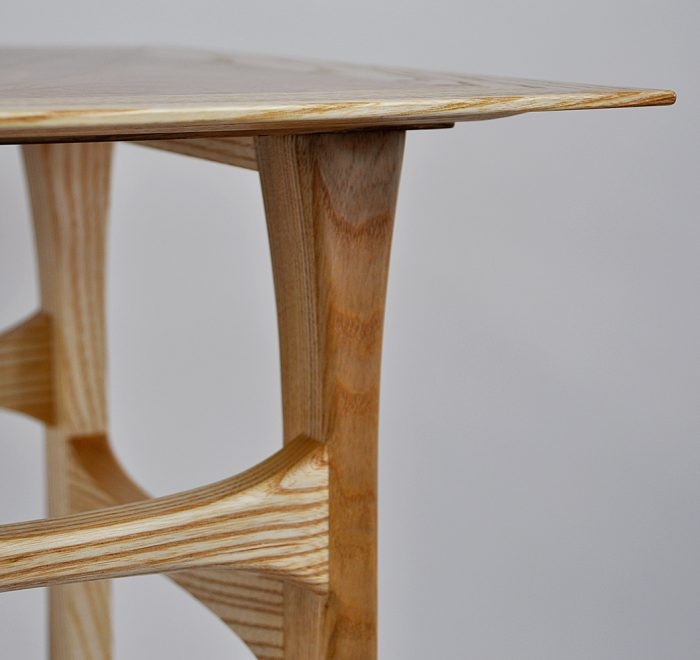 Ash side table maple top edge