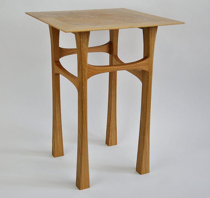 Oak side table oak burr edge 3