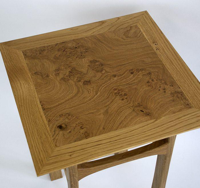 Oak side table oak burr edge top view