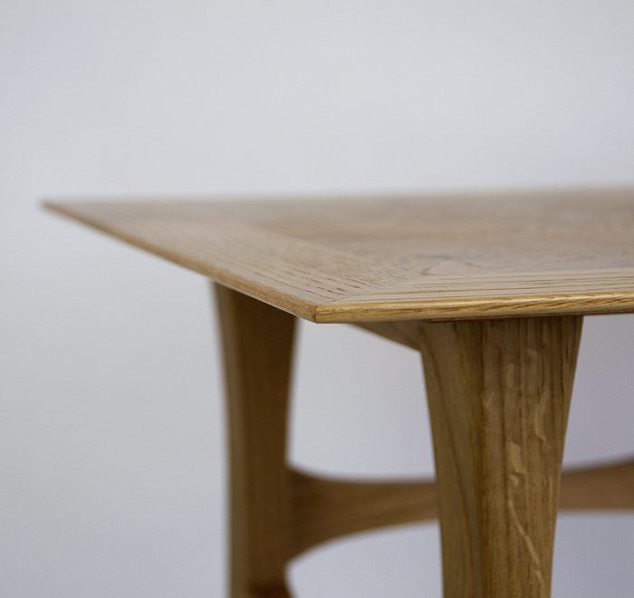 Oak side table oak burr edge top