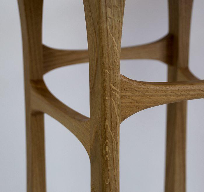 Oak side table oak burr edge joint