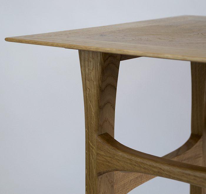 Oak side table oak burr edge