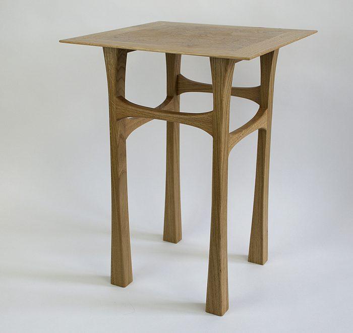 Oak side table oak burr