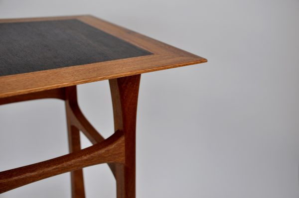 Sapele side table rosewood top egde