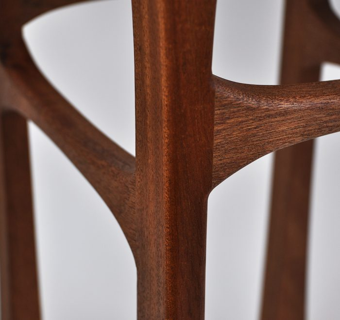 Sapele side table rosewood top joint