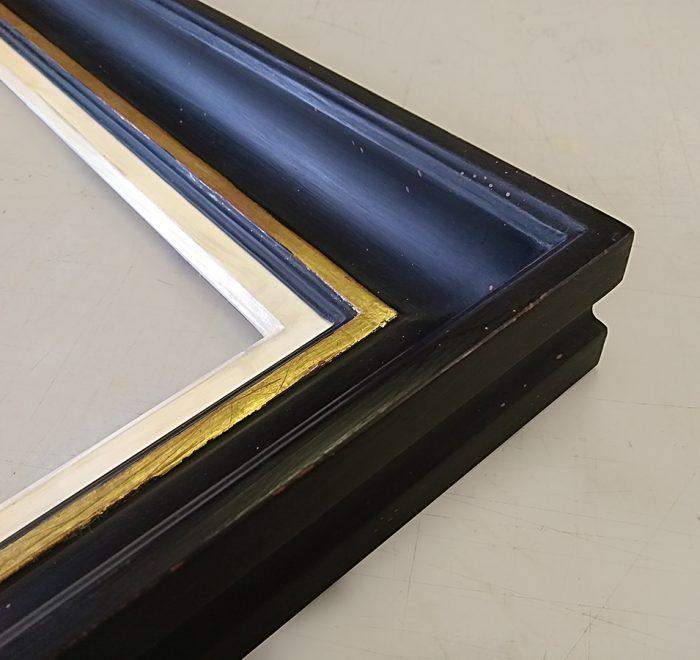 Distressed gold leaf gesso bespoke frame corner