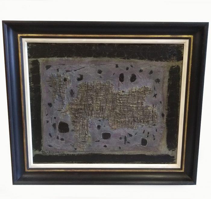 Distressed gold leaf gesso bespoke frame