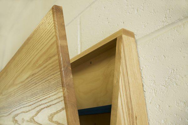 Drop down desk open wall