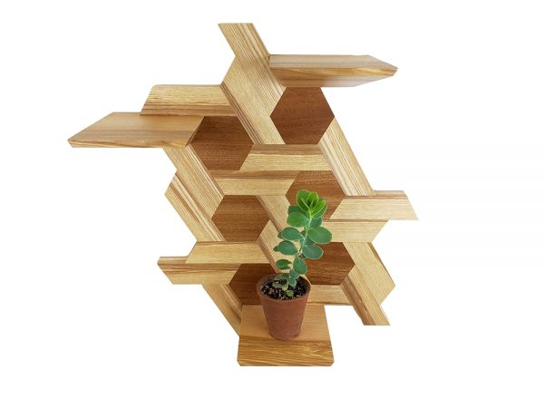 Ash and sapele hexagone shelving plants handmade