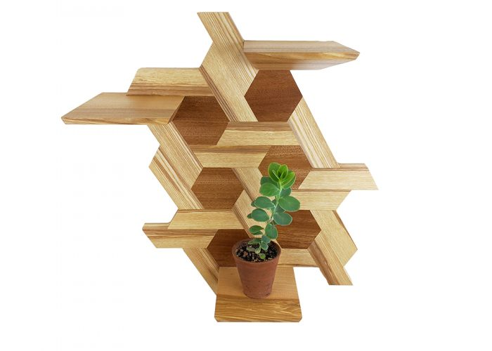 Ash and sapele hexagone shelving plants handmade