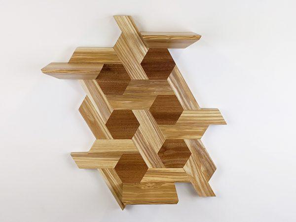 Ash and sapele hexagon shelving