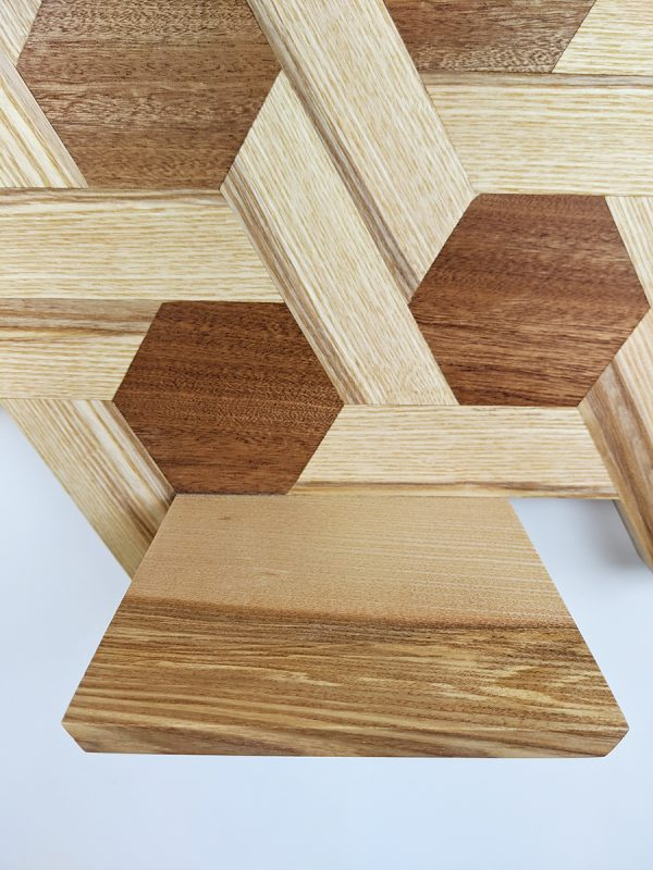 Ash and sapele hexagon shelving low