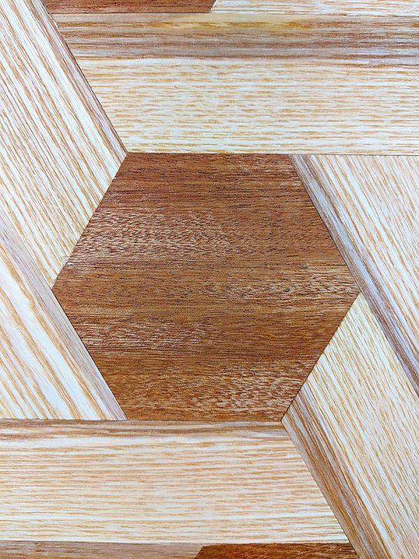 Ash and sapele hexagon shelving close up