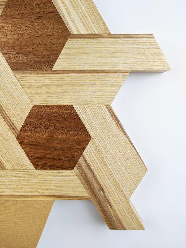 Ash and sapele hexagon shelving edge