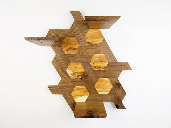 Elm and yew hexagon shelving