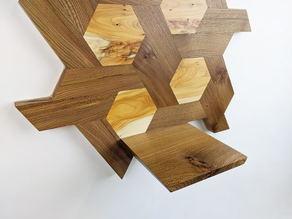 Elm and yew hexagon shelving low detail