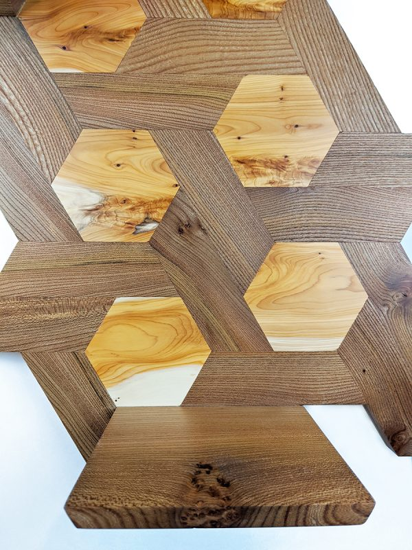 Elm and yew hexagon shelving low